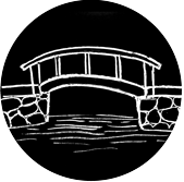 Black and white drawing of a bridge arching over water.