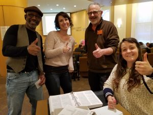2018 Trainees Jerry, Carrie and Ellen - give the thumbs up with Veteran Jack (second from left) at the final in-class training.