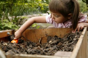 Girl digging with plastic shovel in worm bin.