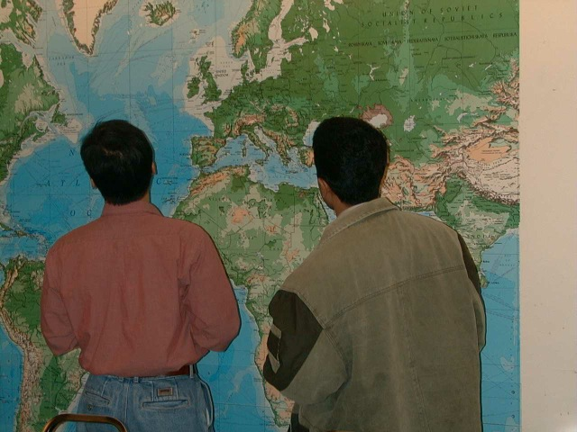 Handi & Kyoung wondering where in the world they'll end up after grad school. Intriguingly, Hamdi's looking at Turkey and Kyoung's off the coast of Nova Scotia. Coincidence? I think not!