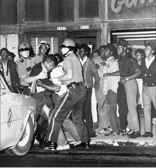 Portland police clash with young Albina residents on Union Avenue in 1969.  By 1960, four-fifths of the city's black population lived in the Albina neighborhood but most of the officers who policed Albina were white.