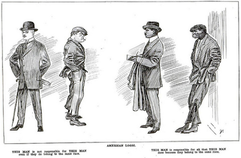 The caption underneath the gentlemen on the left reads: THIS MAN is not responsible for THIS MAN even if they do belong to the same race. The caption underneath the gentlemen on the right reads: THIS MAN is responsible for all that THIS Man does because they belong to the same race.