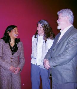 Dr. Linda Burton (left) shares a light moment with HDFS faculty Kate MacTavish and Alan Acock