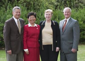Allyn Ford, Dean Tammy Bray, Carmen Ford Phillips and OSU President Ed Ray