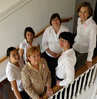 OSU Alumna Celia Austin's gift supports collaboration for faculty researchers, including (clockwise from left): Emily Ho, Kerri Winters-Stone, Sue Carozza, Sheryl Thorburn, and Urszula Iwaniec.