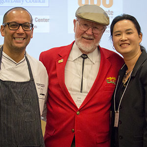 OSU Executive Chef Jay Perry, Bob Moore of Bob's Red Mill and CPHHS Moore Family Center Director Emily Ho.