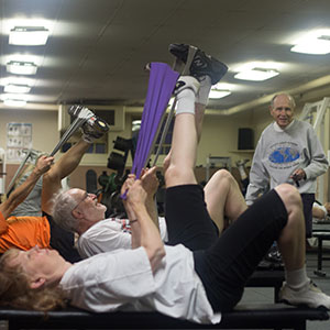 FSF Founder Bill Winkler teaches a circuit weight training class.