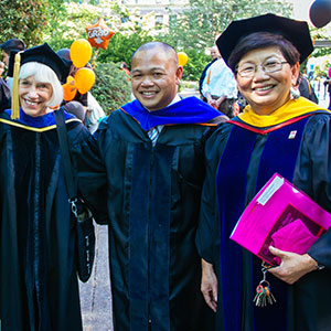 From left to right: CPHHS Associate Dean for Research and Graduate Programs Marie Harvey, CPHHS alum Josiah Roldan and CPHHS Dean Tammy Bray - CPHHS hooding ceremony 2013.