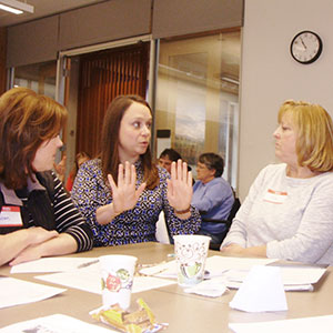 Bridget Hatfield explains teacher-child interaction techniques to local educators in one of several early education workshops she's hosted at the Hallie E. Ford Center for Healthy Children and Families.