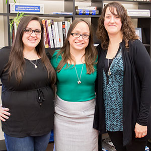 Bridget with two CPHHS graduate students, Alexis Tracy (left) and Staci Ebadirad (right).