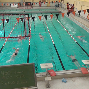 Faculty Staff Fitness swimming class during lunch.
