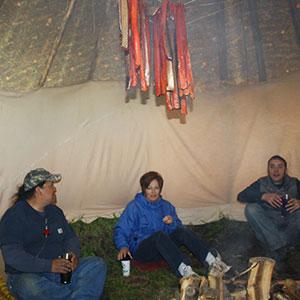 Photo taken inside a teepee.