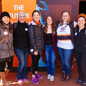 Top-five GridIron Chef Contest winners with Moore Family Center Director Emily Ho (third to left).
