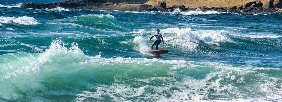 Surfer-scholar rides the wave