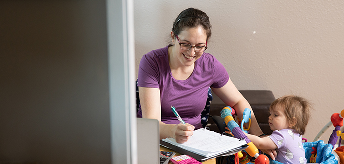 Human development and family sciences student Heather Reding works on school work