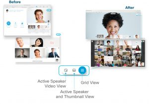 Webex meeting experience before and after screen shots. Image from: https://collaborationhelp.cisco.com/article/en-us/norgje1