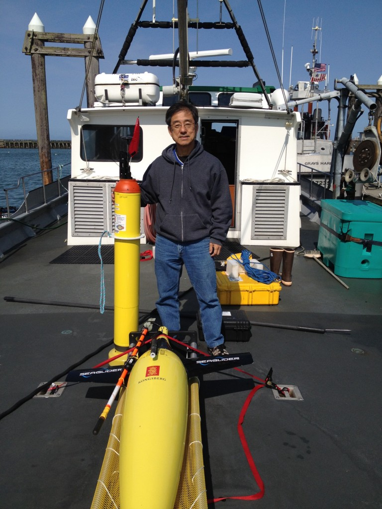 Dr. Matsumoto off the Washington Coast for the Seaglider QUEphone Survey April 2015