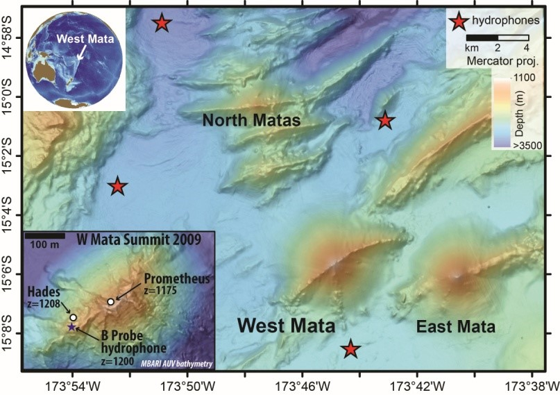 Maps showing bathymetry of West Mata volcano, with North, West and East Mata volcanoes nearby. Inset is a small-scale view of West Mata showing the locations of actively erupting summit vents (Hades, Prometheus).