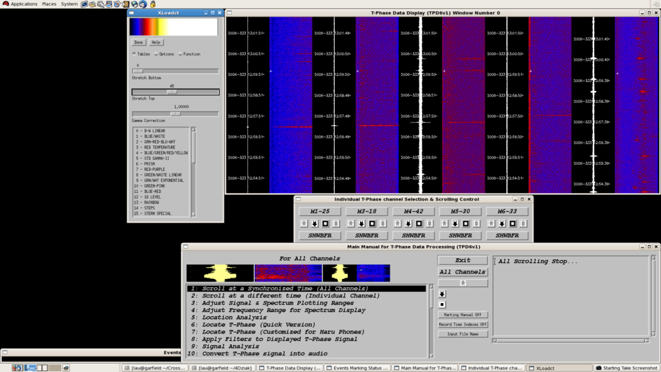 Figure 1: SEAS program showing data in time-series and spectrum formats.