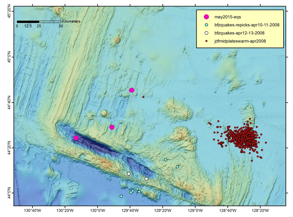 The 2015 quakes are the large magenta circles (map created by Susan Merle).