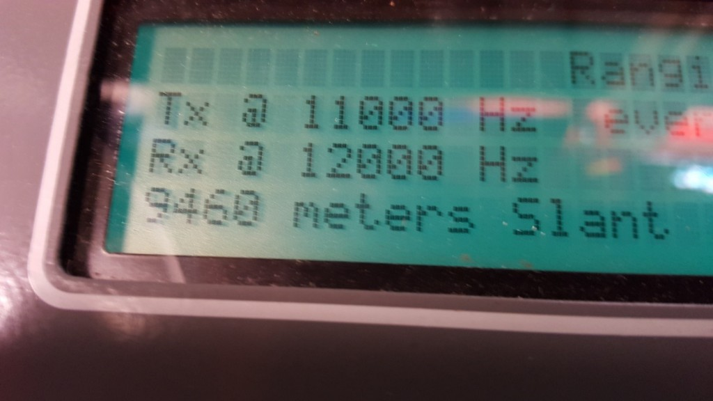 Deck unit showing a depth of 9460m and still going...