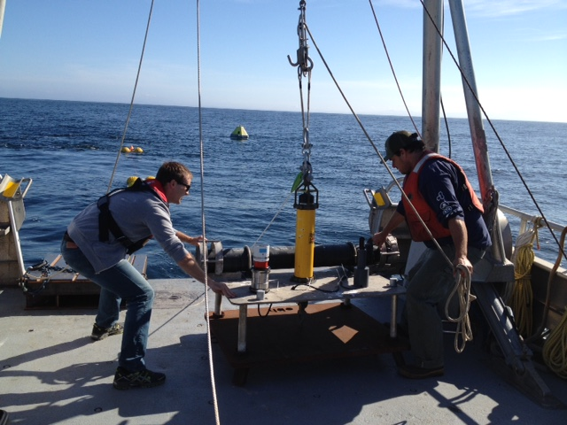 Alex Turpin & Joe Haxel recovering the OBH for the RAOS test off the Oregon coast.