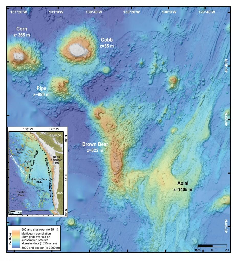 Under Sea Volcanoes off Coast of Oregon