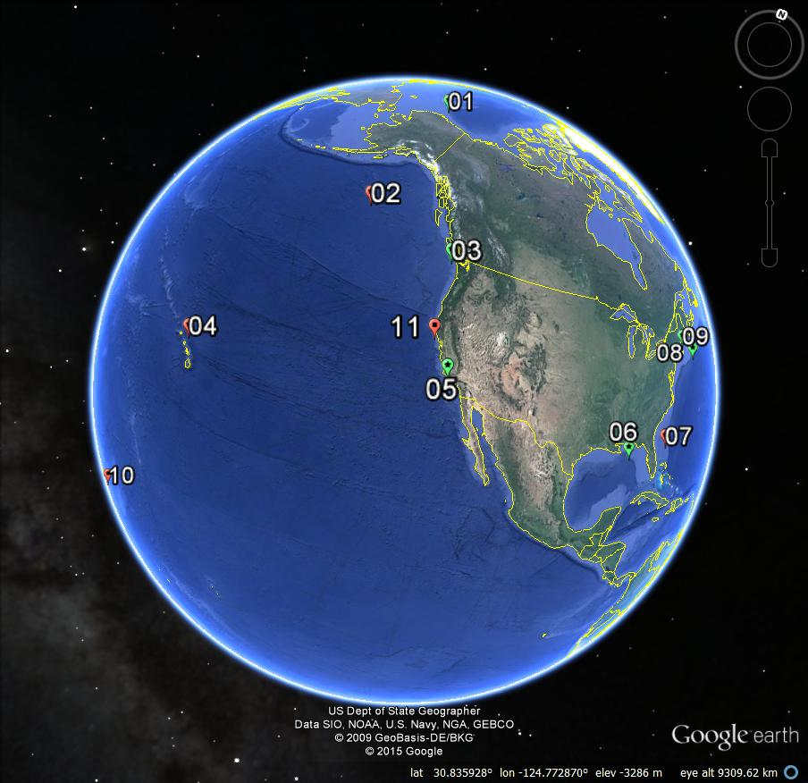 Ocean Noise Reference Station locations