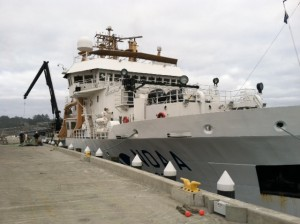 NOAA ship Bell Shimada at port in Newport, OR.