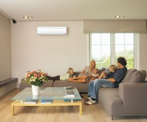 Indoor ductless systems are usually mounted high on a wall and controlled by a small remote control.