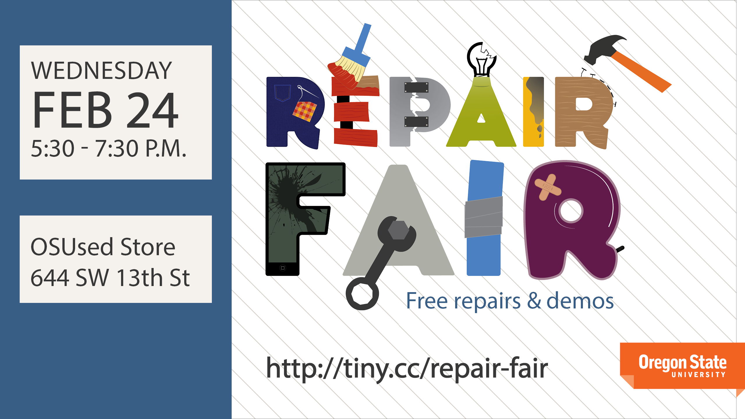 The Repair Fair is on Wednesday, Feb. 24 from 5:30 - 7:30 PM