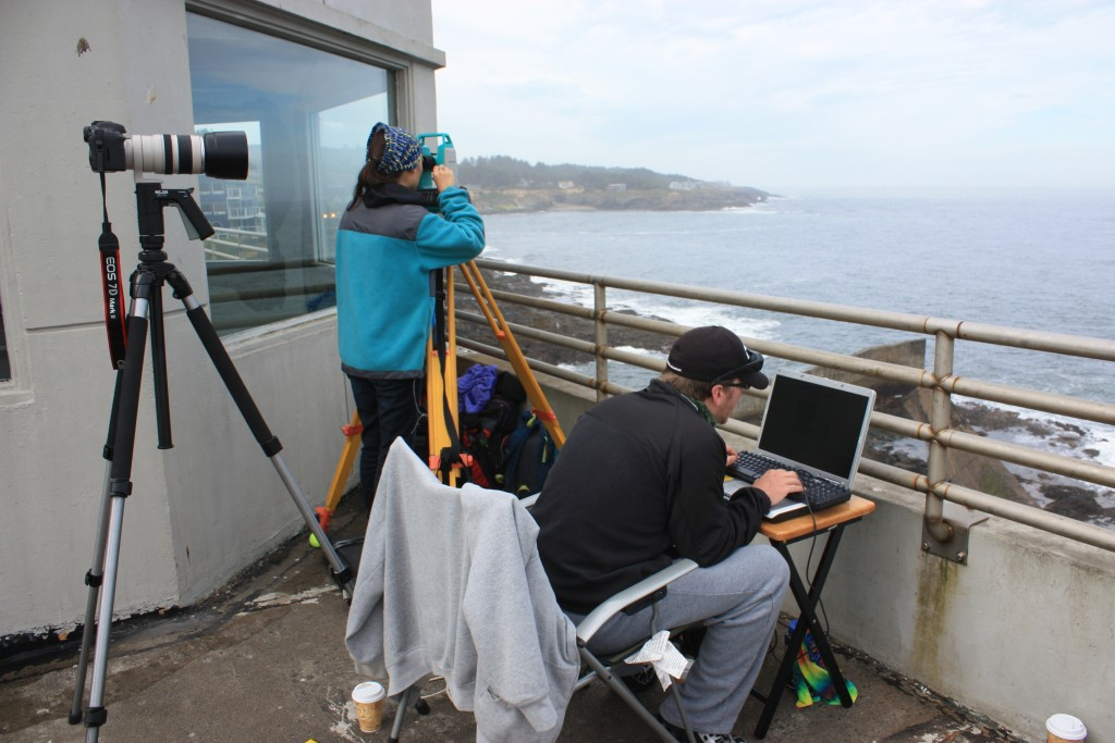 Testing the set up at the Depoe Bay Whale Watch Center with Cricket and Justin interns extraordinaire!