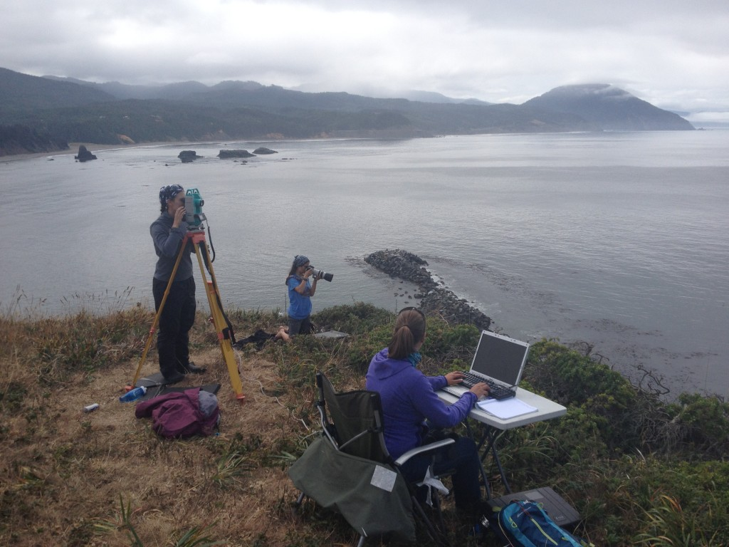 Our sampling set-up on Graveyard point - above the port of Port Orford