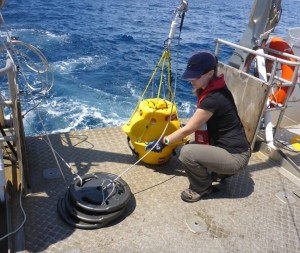 Figure 1. Kristin Hodge about to deploy a Marine Autonomous Recording Unit (MARU) and anchors in the South Taranaki Bight of New Zealand.