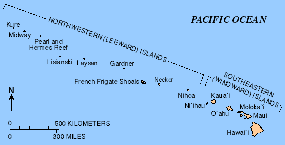 Map of the Hawaiian Islands — Midway is on the left.