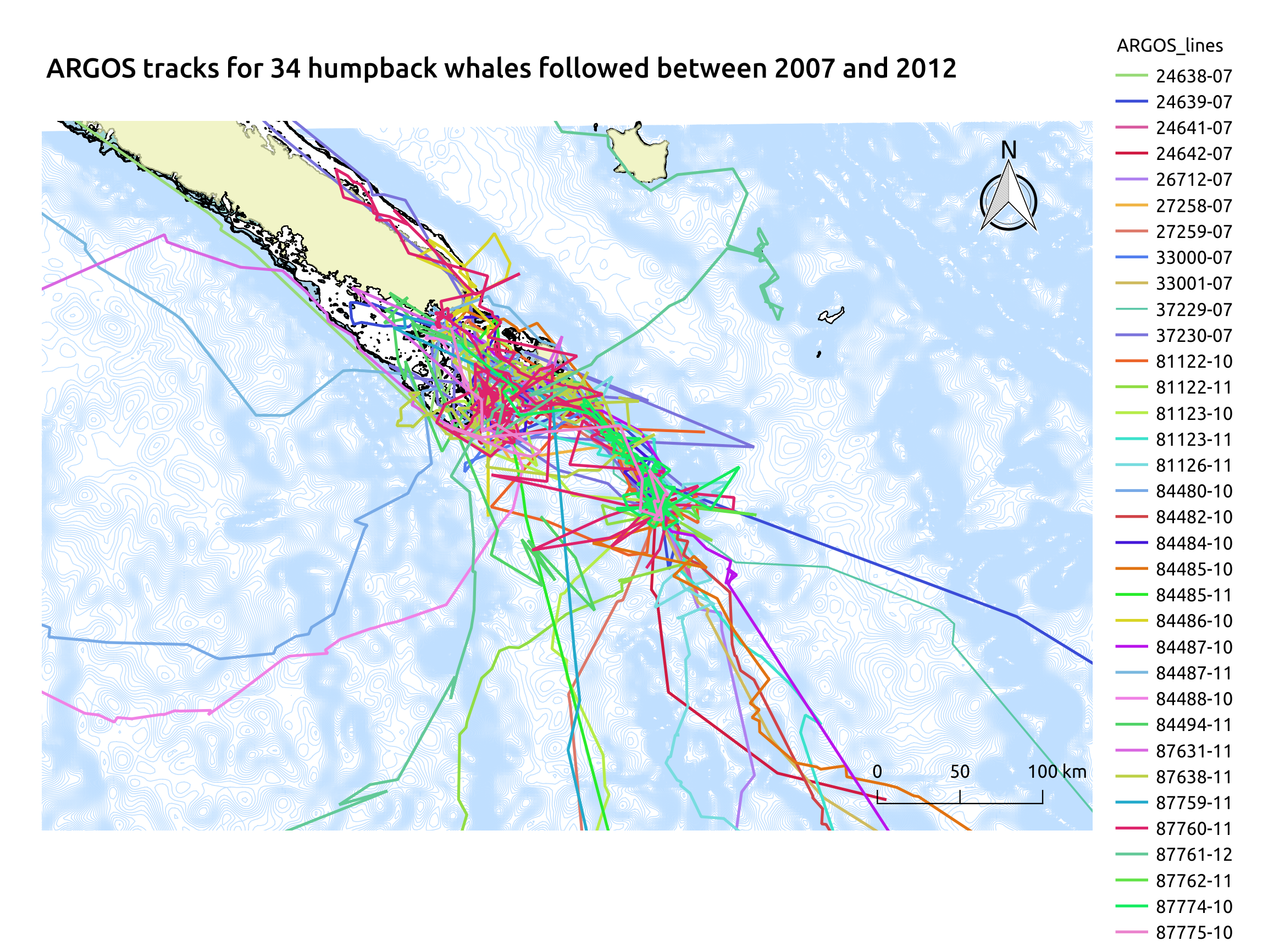 Figure 2: ARGOS tracking of 34 humpback whales tagged between 2007 and 2012 in the South Lagoon. The Antigonia seamount and Torch Bank are completely covered by tracklines.