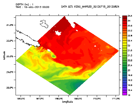 Figure 4: Modeled Sea Surface Temperature for July 15th 2013 (model in progress, based on MARS3D, development by Romain Legendre). A temperature front occurs in the middle of the study area, along the Norfolk ridge. On this image, a cold eddy is forming right on top of the Antigonia seamount.