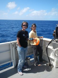Solene with Dr. Claire Garrigue during fieldwork at the Chesterfield Reefs, New Caledonia.