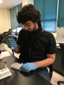 James performing DNA Isolation in the lab.
