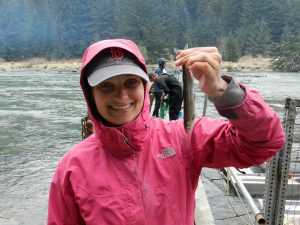 Having fun after fieldwork; Aimee's eulachon fish catch of the day in Haines, Alaska. One is better than none!
