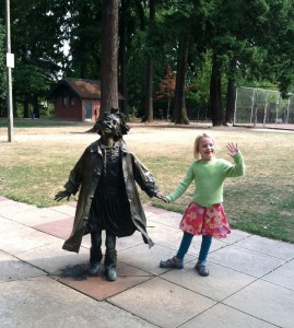 Nora visits Ramona Quimby (from Ramona the Pest, by Beverly Cleary) at Grant Park in Portland.