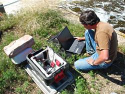 Matt downloading pit tag information from antenna array
