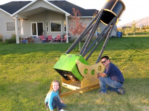 "Shane Larson and his daughter Kate in Utah with his 16"" Dobsonian telescope. Much better seeing in Utah than Illinois unfortunately."