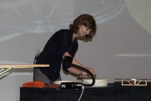 Janet Tate setting up her superconducting demonstration.
