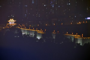 Xi'an City Wall at night from our Hotel.
