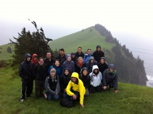 Spring 2015 BI 450 students at the top of Cascade Head near Lincoln City, Oregon.