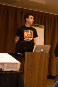 Jared presenting at the hackathon