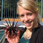 Lydia Kapsenberg with a sea urchin