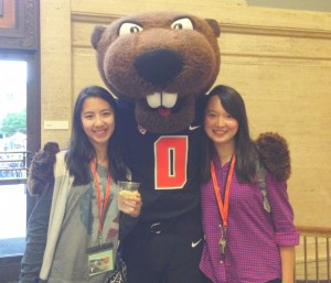 Midori (right), an exchange student from Doshisha University, Kyoto, Japan