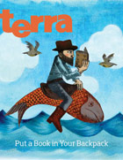 Cover of Summer Terra - Illustration of man reading book and riding fish